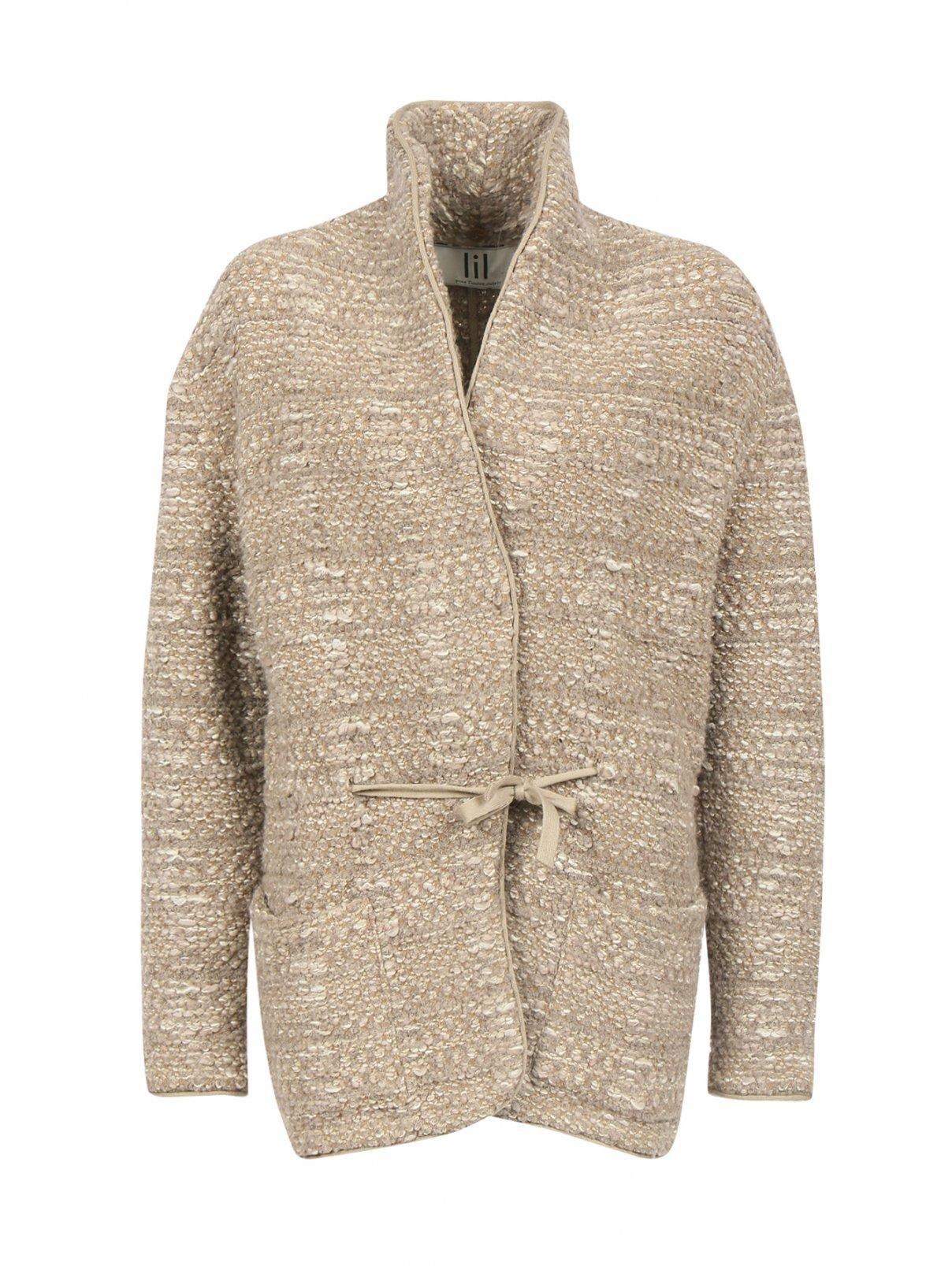 Жакет из смесовой шерсти с накладными карманами LIL Paris  –  Общий вид  – Цвет:  Мультиколор