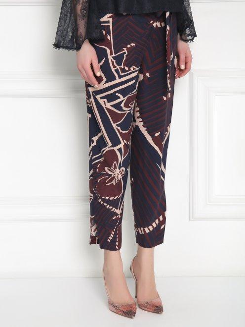 Укороченные брюки из вискозы с узором - МодельВерхНиз