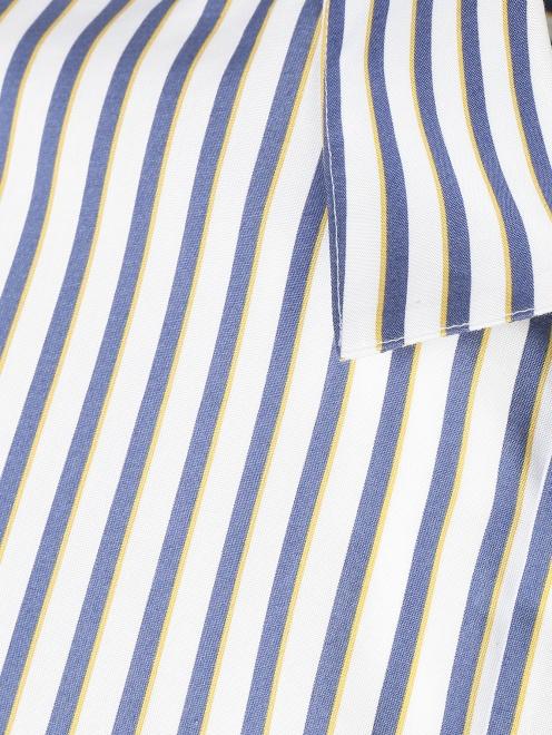 Блуза из хлопка в полоску с асимметричной застежкой - Деталь