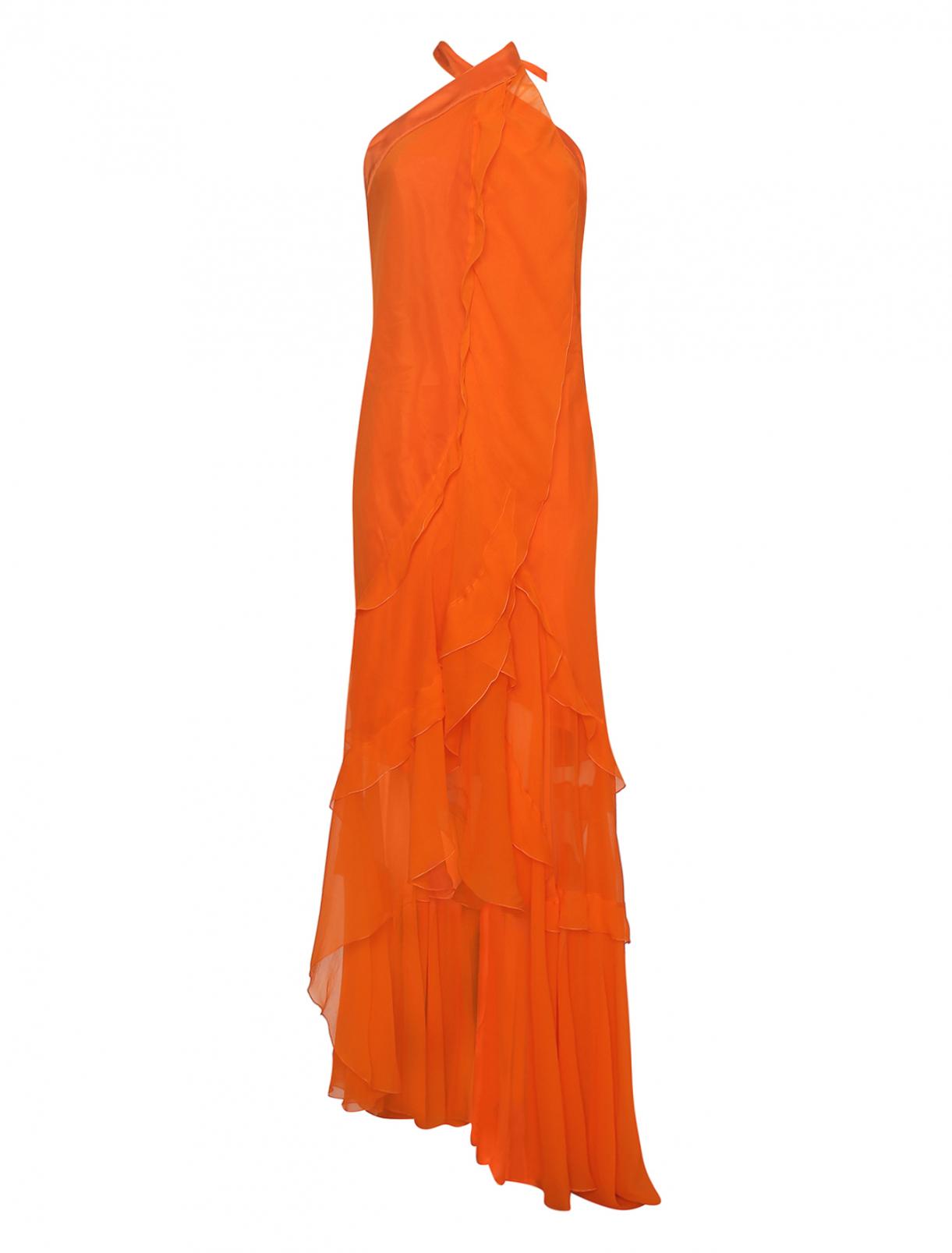 Асимметричное платье-макси из шелка с воланами Alberta Ferretti  –  Общий вид