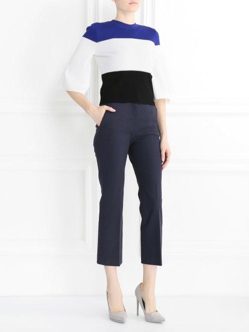 Укороченные брюки прямого кроя из хлопка - Общий вид