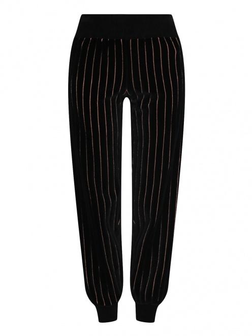 """Трикотажные брюки из хлопка с узором """"полоска"""" - Общий вид"""