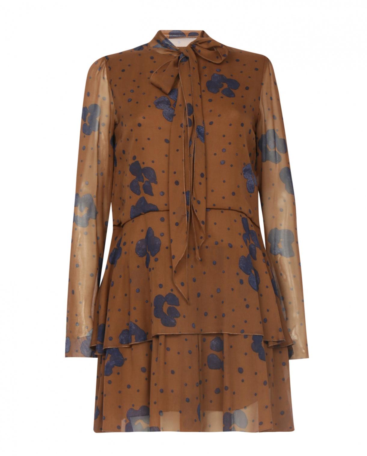Платье из шелка с воланами и узором See by Chloé  –  Общий вид