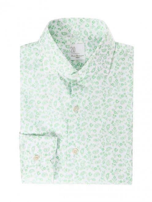 Рубашка из хлопка с цветочным узором - Общий вид