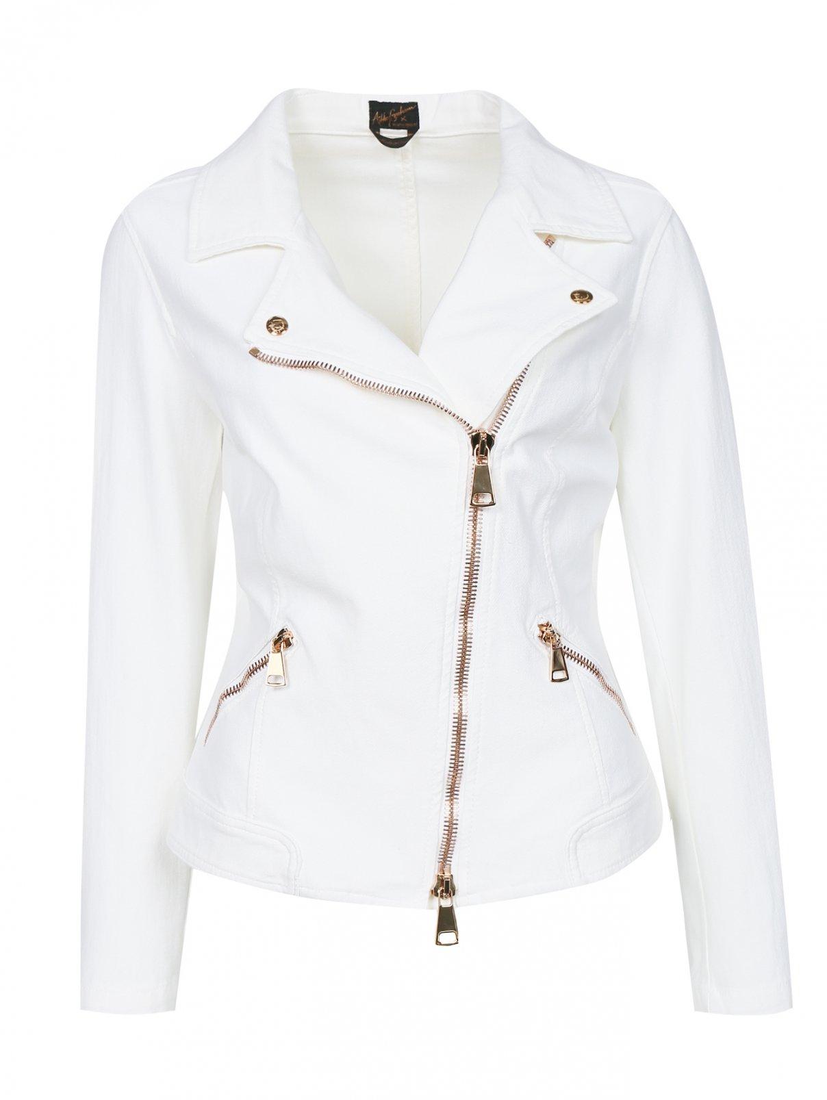 Куртка-косуха из эластичного денима Ashley Graham x Marina Rinaldi  –  Общий вид  – Цвет:  Белый