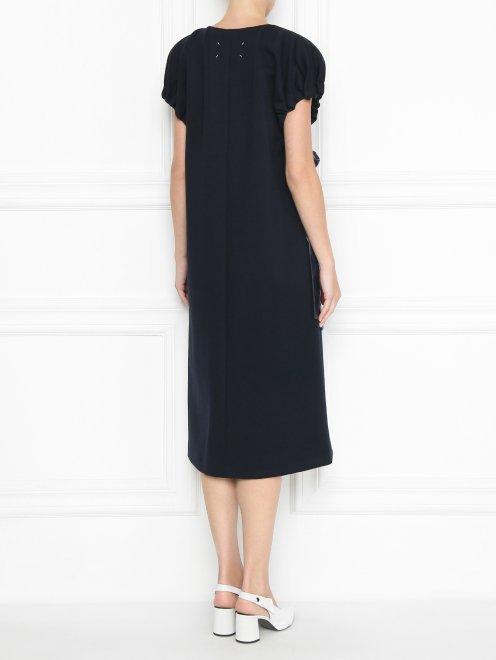 Платье трикотажное с драпировкой - МодельВерхНиз1