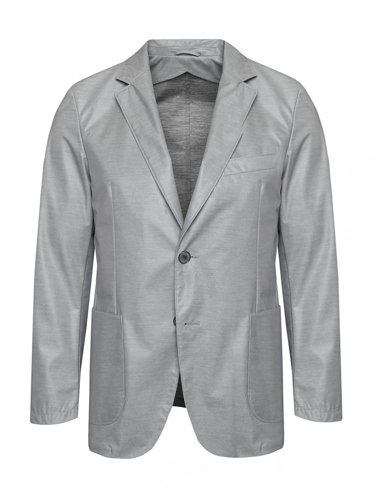 Пиджак однобортный с накладными карманами Belvest  –  Общий вид  – Цвет:  Серый
