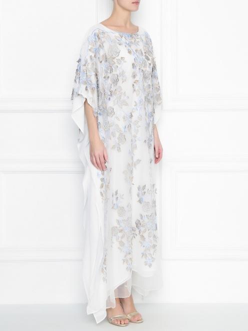 Платье свободного кроя из шелка с аппликацией - МодельВерхНиз