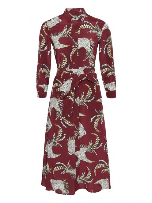 Платье-миди из шелка с узором  - Общий вид