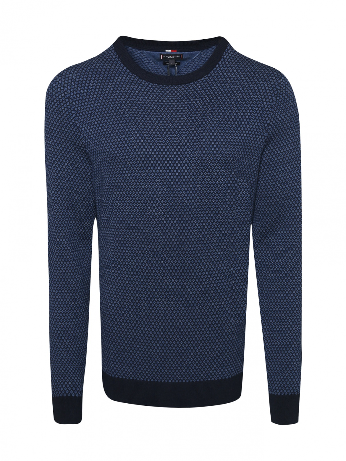 Джемпер из хлопка и шерсти с узором Tommy Hilfiger  –  Общий вид  – Цвет:  Синий