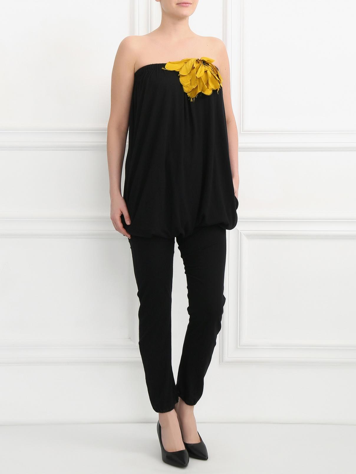 Комбинезон из хлопка с декоративным цветком Lanvin  –  Модель Общий вид  – Цвет:  Черный