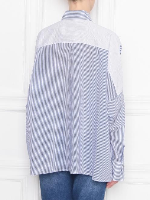 Блуза из хлопка и шелка в полоску - МодельВерхНиз1