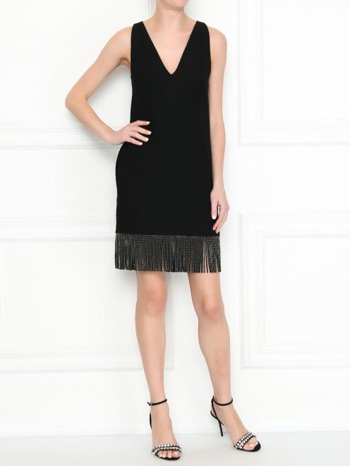 Платье из смешанной шерсти с бахромой - МодельОбщийВид