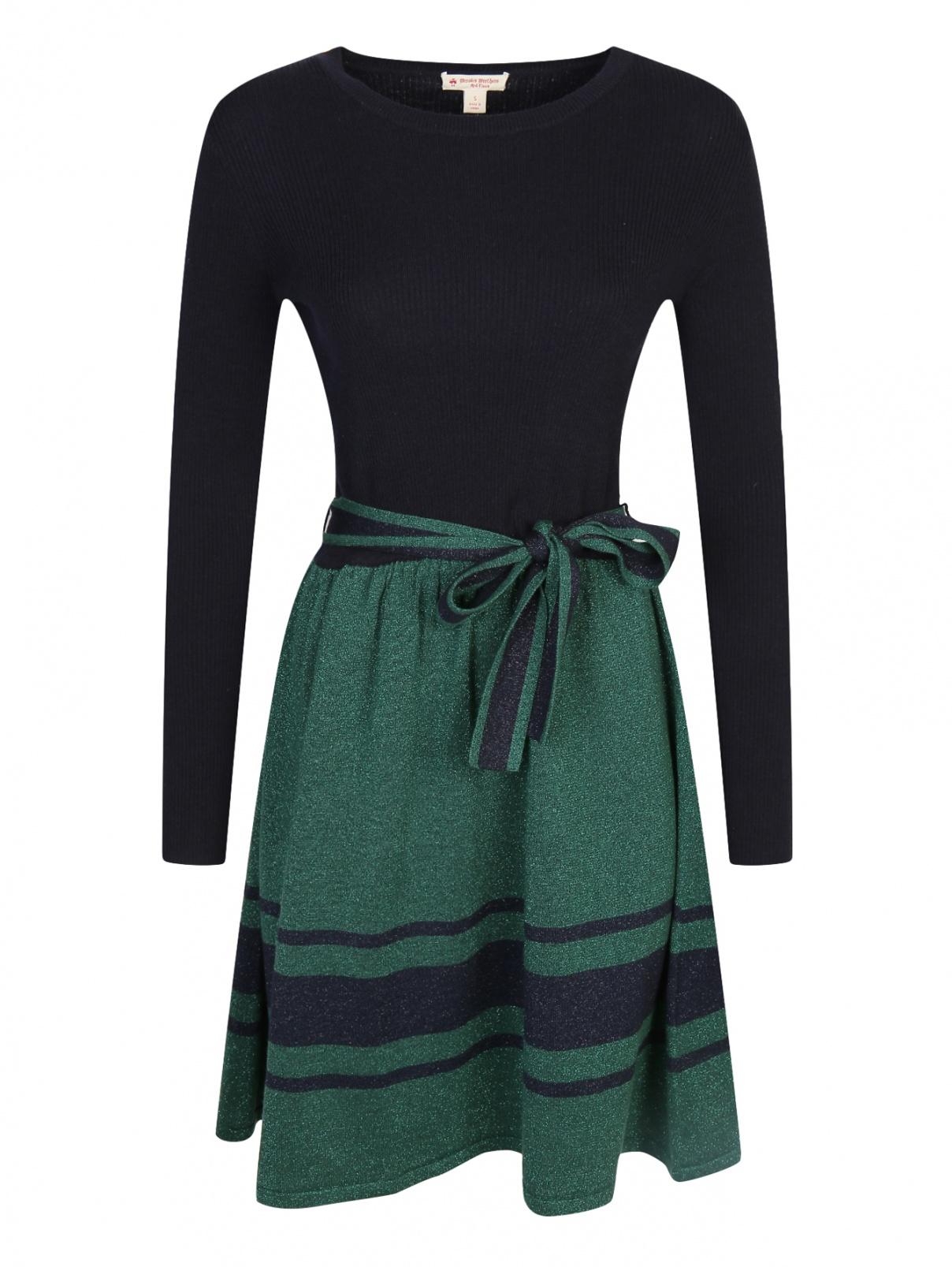 Платье из шерсти и хлопка с декоративным бантом Brooks Brothers  –  Общий вид