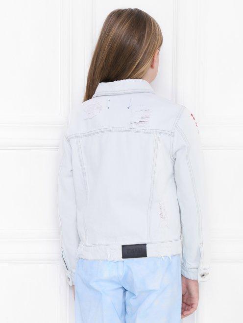 Куртка из денима с принтом - МодельВерхНиз1