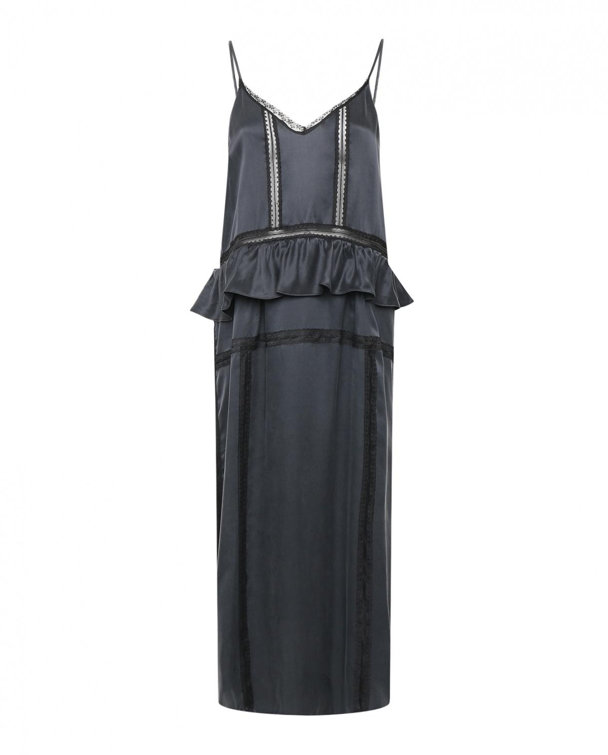 Платье из шелка на тонких бретелях с кружевной отделкой IRO  –  Общий вид