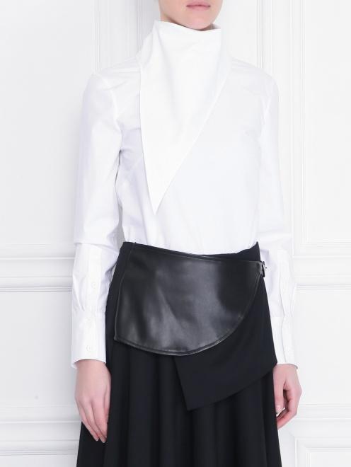 Рубашка из хлопка с декоративным воротом - МодельВерхНиз