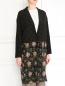 Легкое пальто из шелка с цветочным узором Alberto Biani  –  Модель Верх-Низ