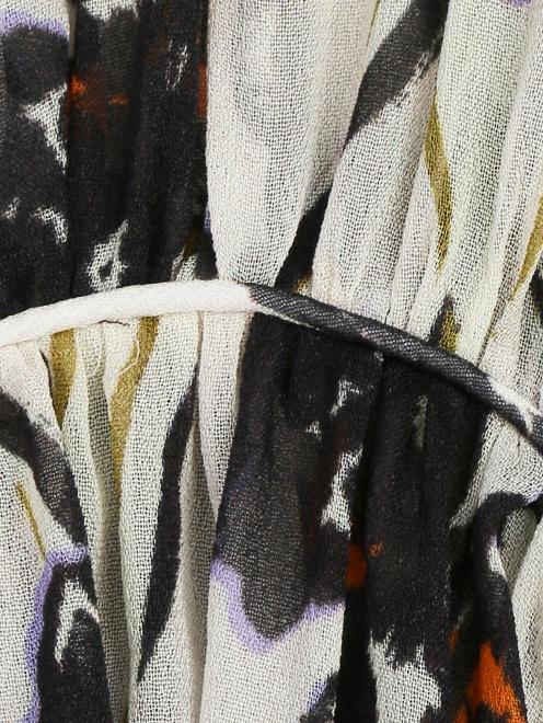 Блуза из шелка с принтом свободного кроя - Деталь