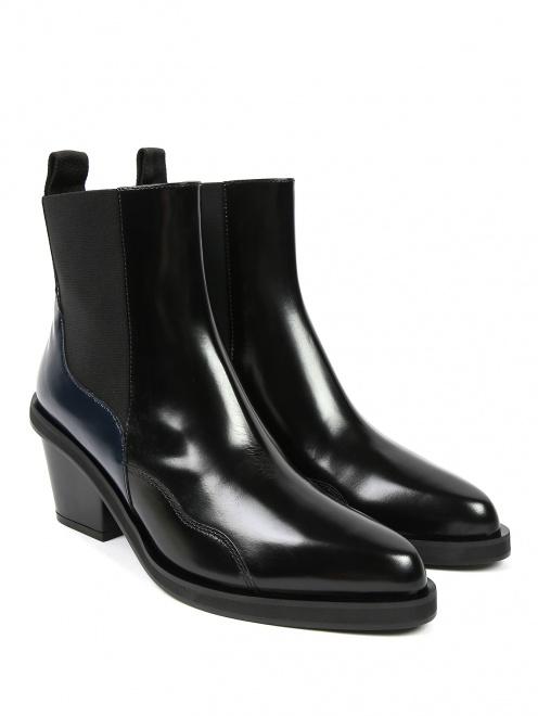 Ботинки из гладкой кожи на среднем каблуке - Общий вид