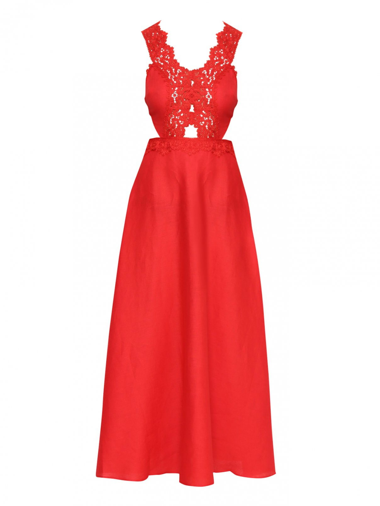 Платье льняное, с декором кружевом Ermanno Scervino  –  Общий вид