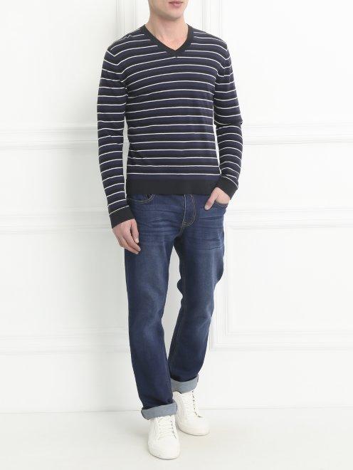 Пуловер из хлопка с узором  - Общий вид