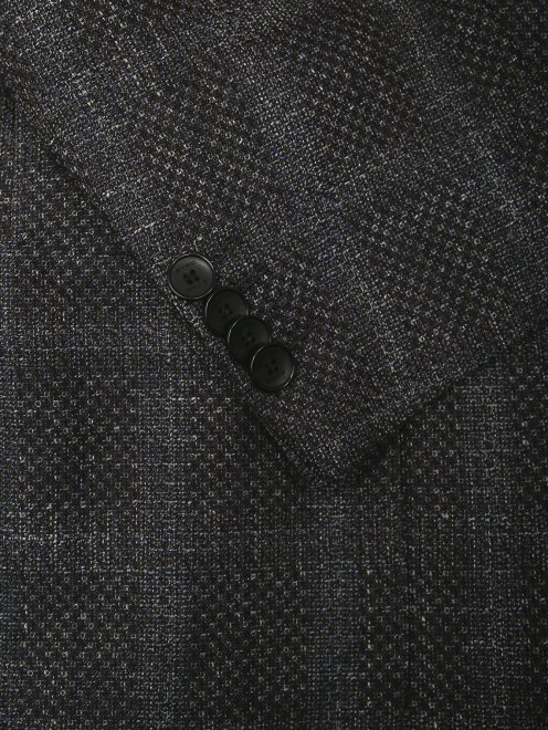 """Пиджак однобортный из шерсти и шелка с узором """"клетка""""  - Деталь"""