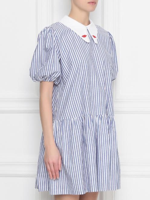 Платье из хлопка, с узором полоска  - МодельВерхНиз
