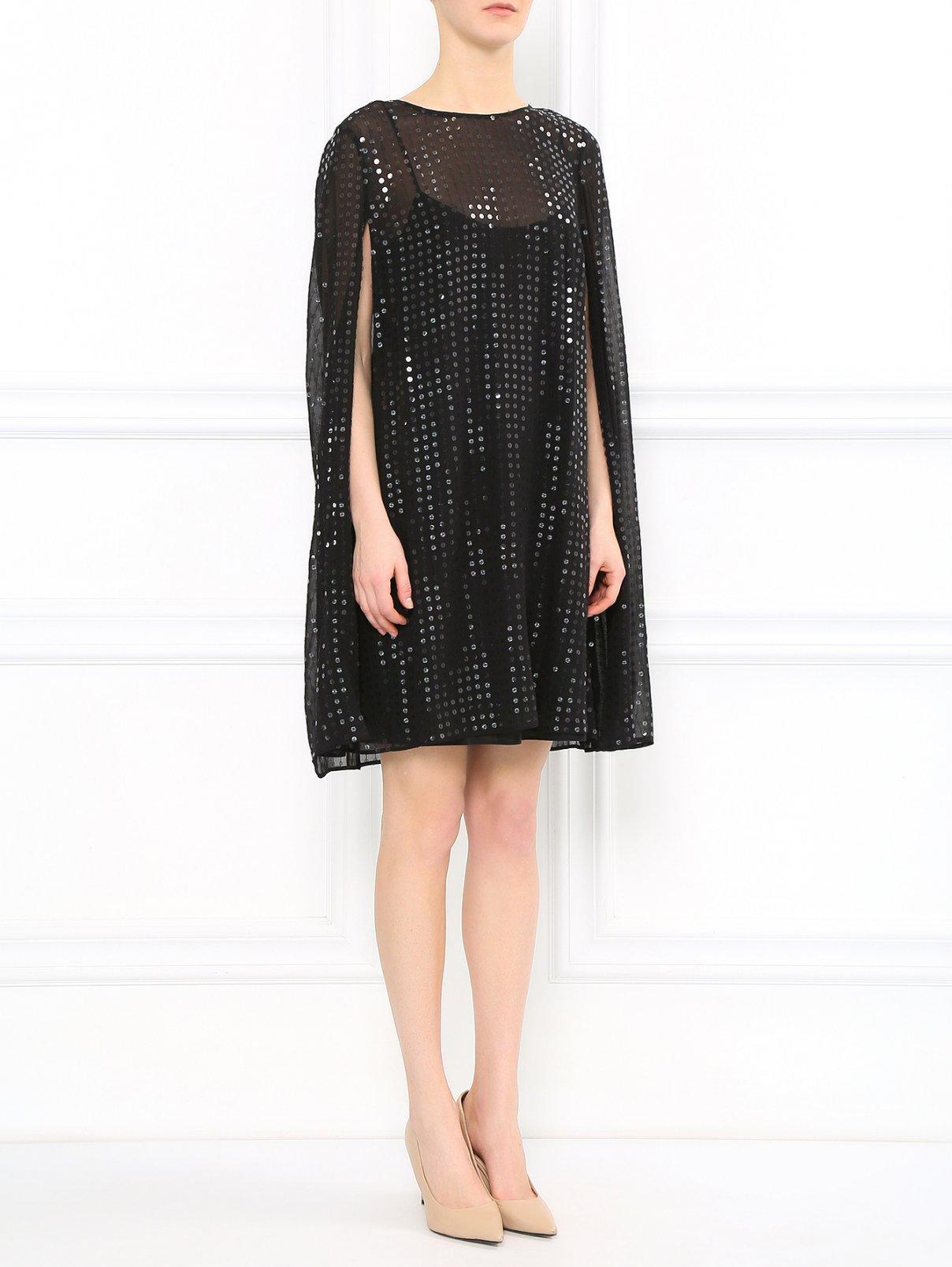 Платье свободного фасона из шелка декорированное пайетками Costume National  –  Модель Общий вид