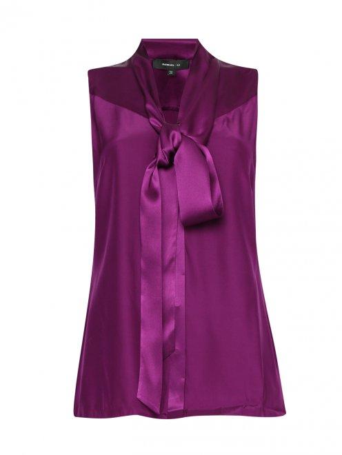Блуза из шелка с бантом - Общий вид