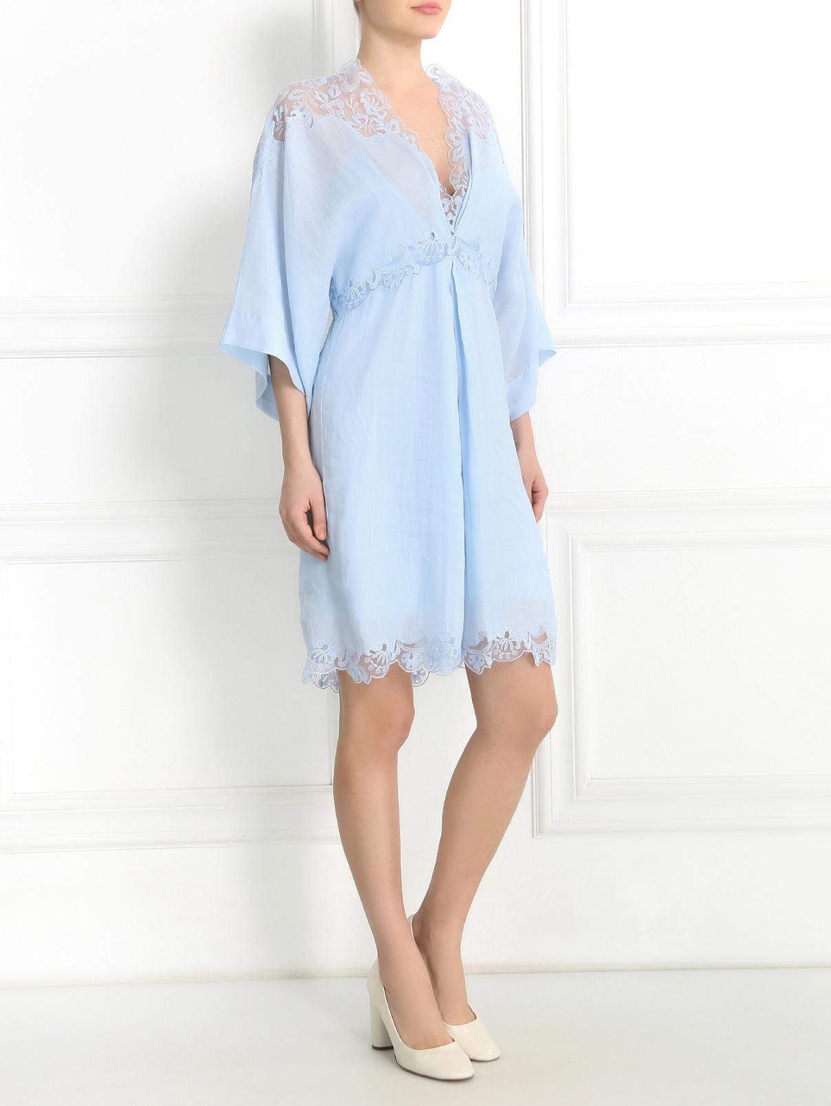Платье-мини с кружевными вставками Ermanno Scervino  –  Модель Общий вид  – Цвет:  Синий