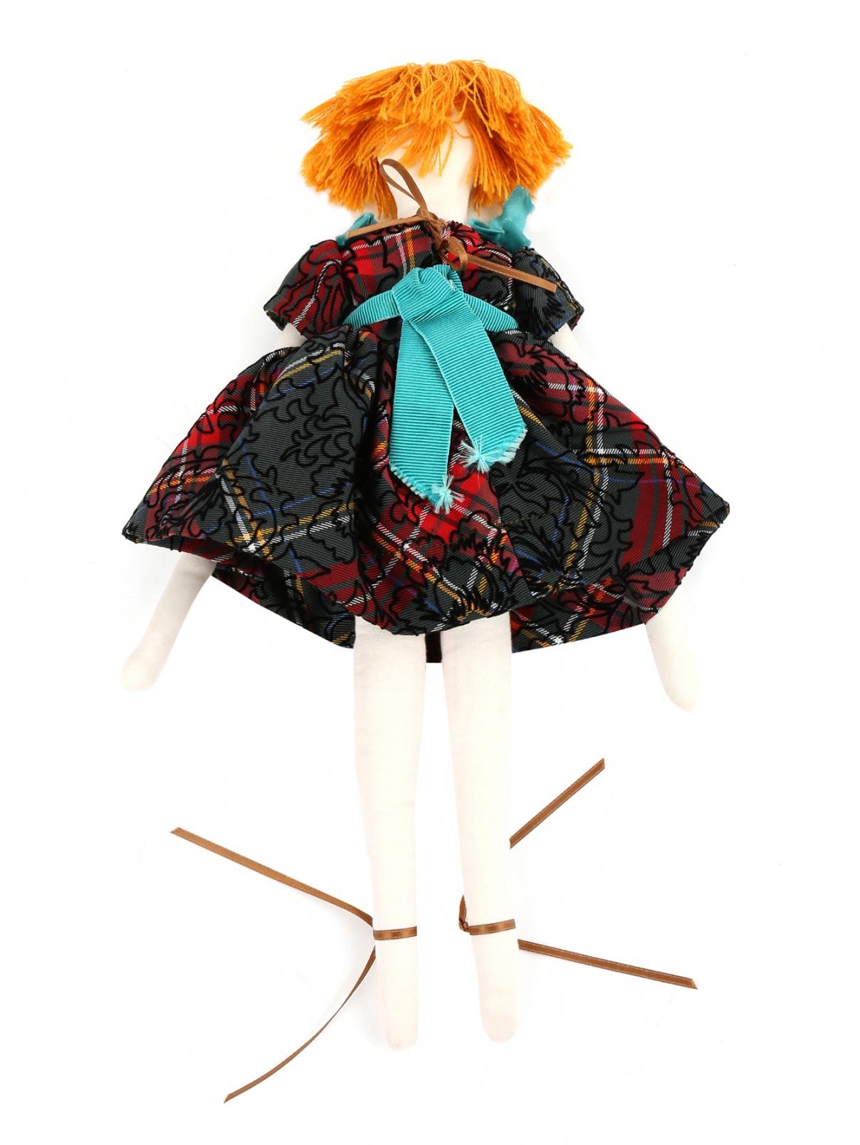 Кукла текстильная в платье с узором MiMiSol  –  Общий вид  – Цвет:  Узор