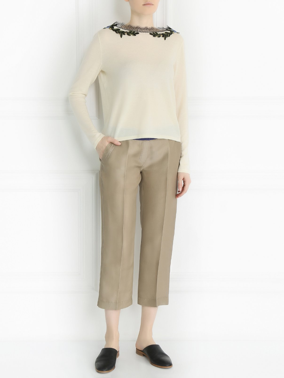 Укороченные брюки из шелка Maurizio Pecoraro  –  Модель Общий вид