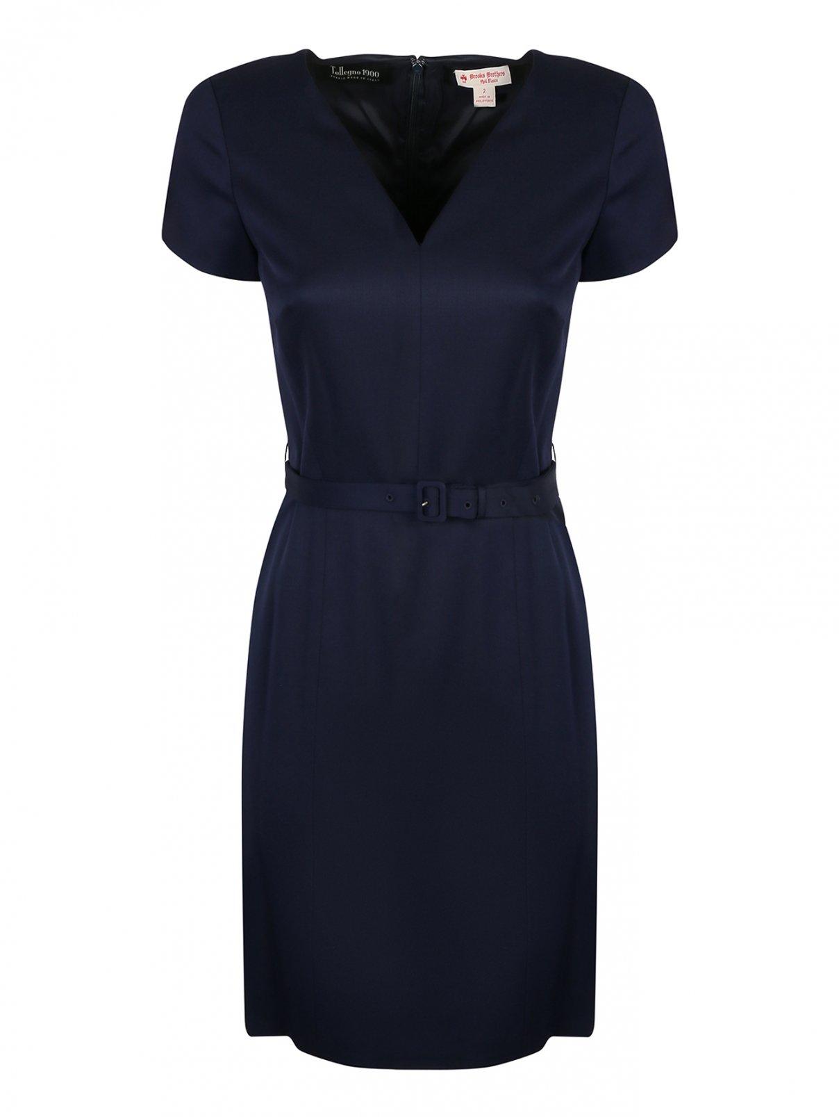 Платье шерстяное, приталенное, с поясом Brooks Brothers  –  Общий вид