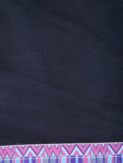 Шарф из льна и модала с контрастными вставками - Деталь
