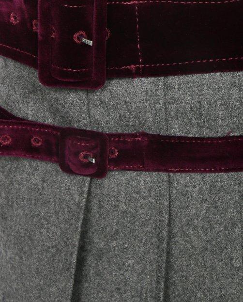 Юбка из шерсти с контрастным поясом - Общий вид