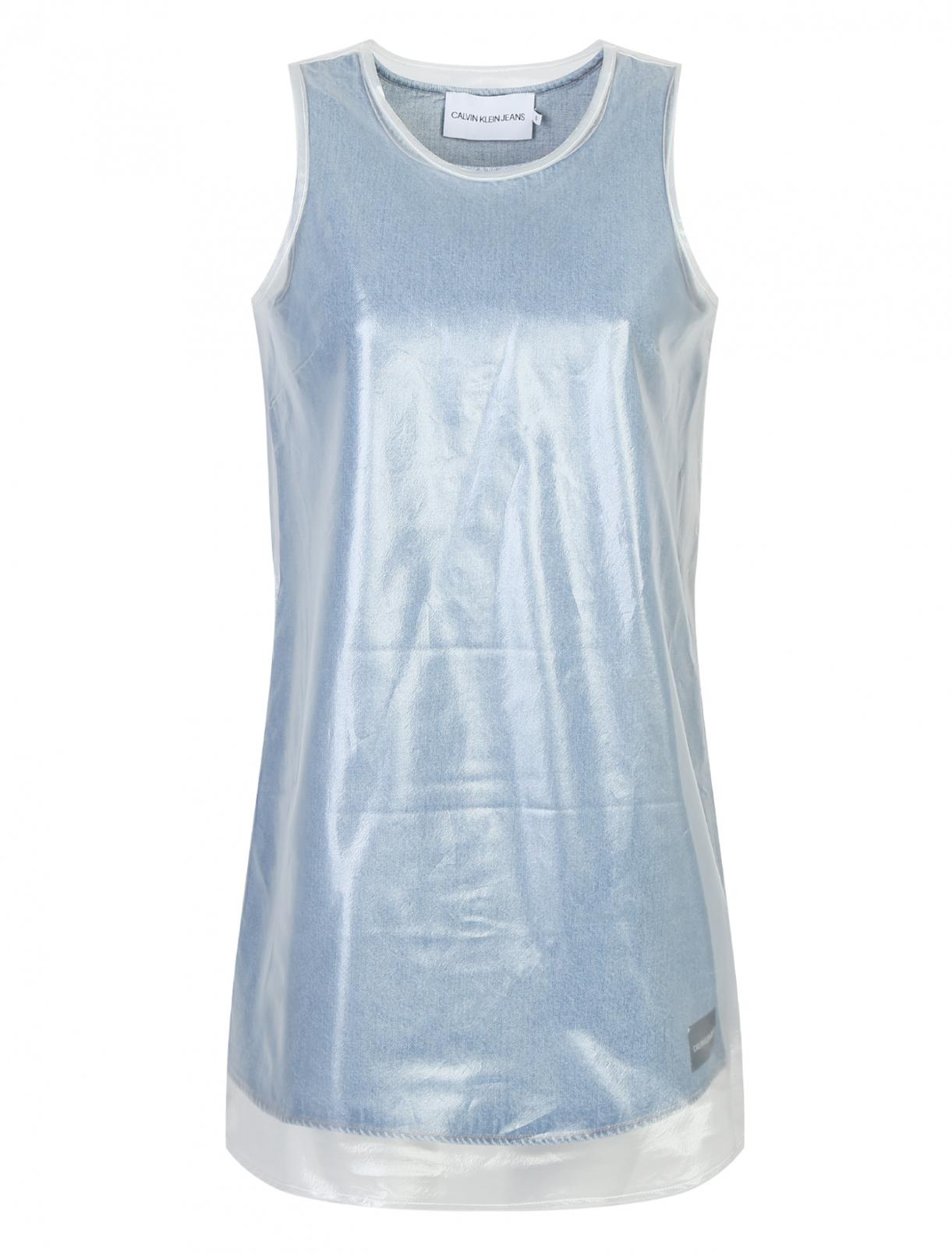 Джинсовое платье с полупрозрачной накидкой Calvin Klein Jeans  –  Общий вид