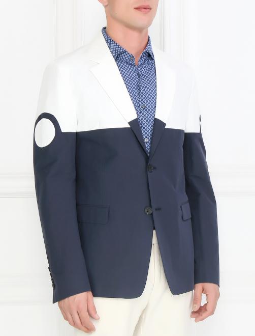 Однобортный пиджак из хлопка и льна - Модель Верх-Низ