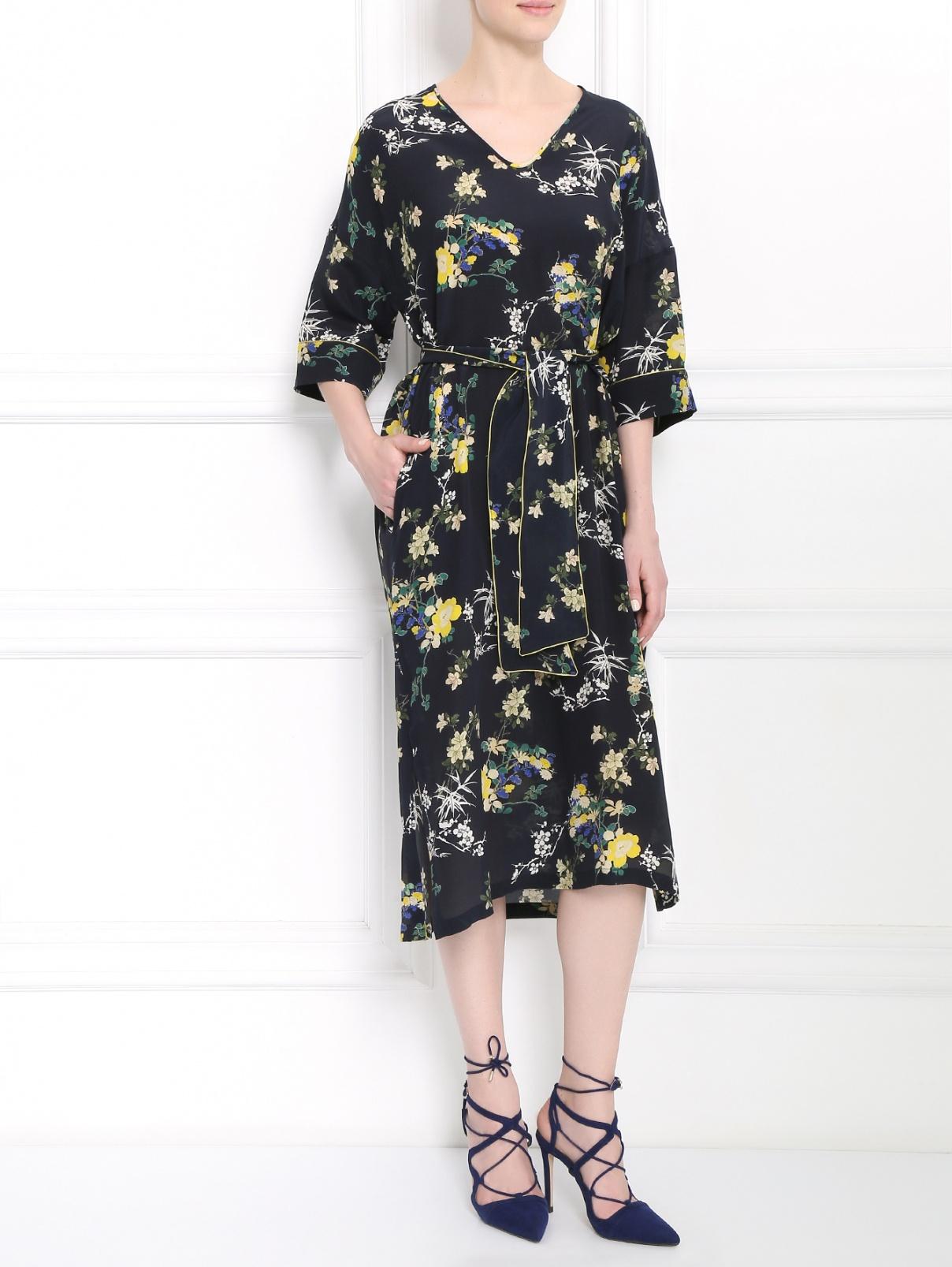 Платье-миди из шелка свободного кроя с узором Weekend Max Mara  –  Модель Общий вид