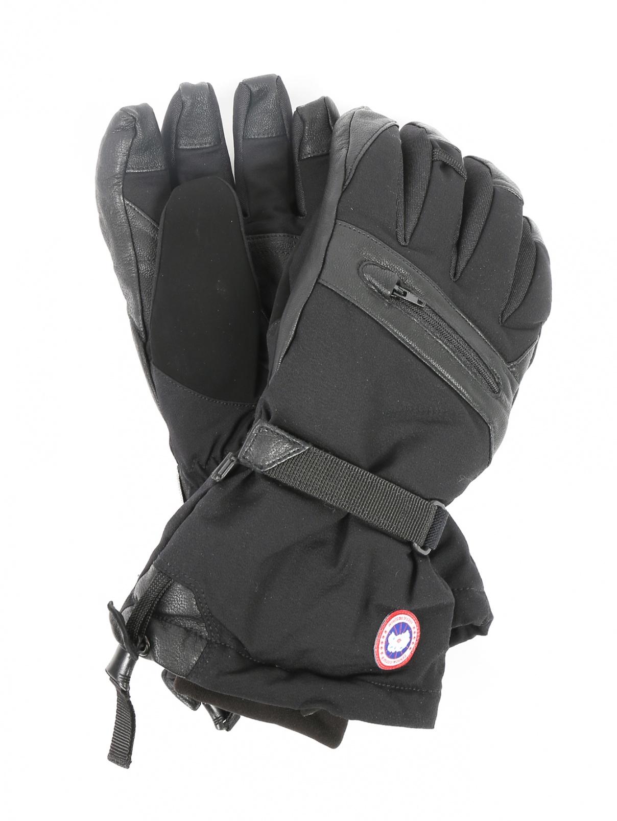 Перчатки пуховые с контрастной вставкой Canada Goose  –  Общий вид  – Цвет:  Черный