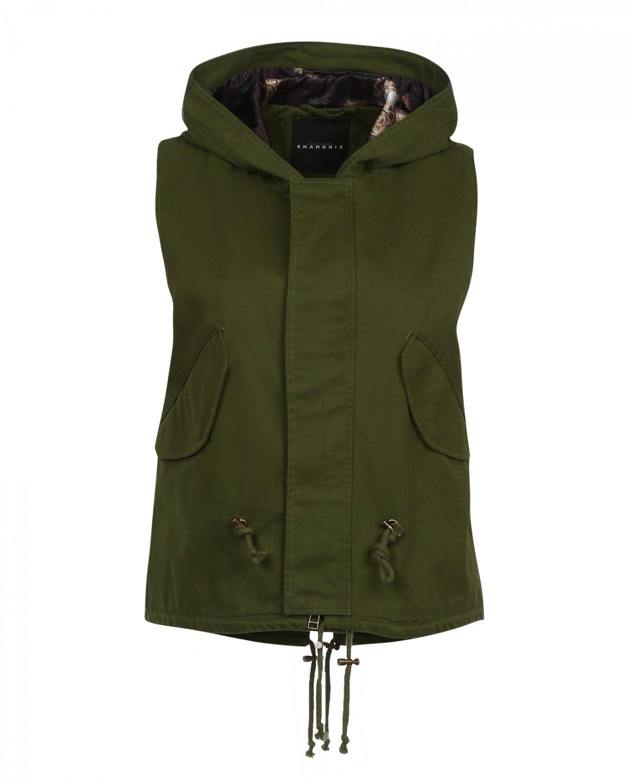 Жилет из хлопка на молнии с капюшоном Alessandra Chamonix  –  Общий вид  – Цвет:  Зеленый