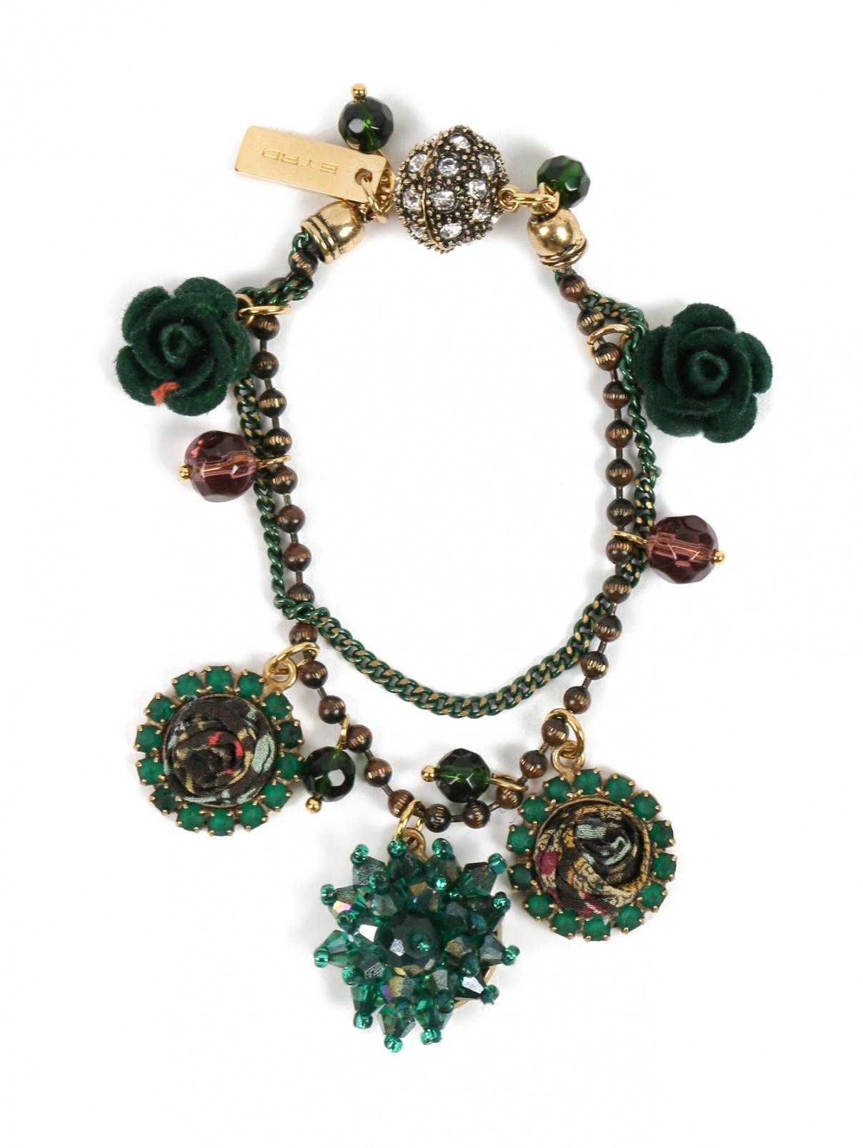 Браслет из металла и шелка Etro  –  Общий вид  – Цвет:  Зеленый