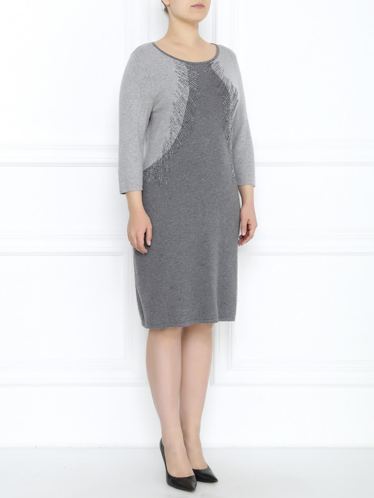 Трикотажное платье с декоративной отделкой Marina Rinaldi  –  Модель Общий вид