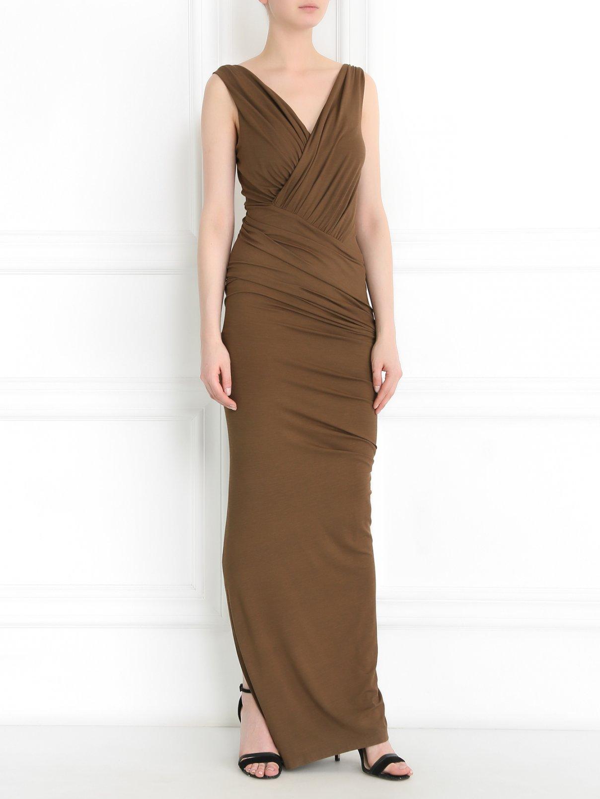 Платье-макси с драпировкой Donna Karan  –  Модель Общий вид