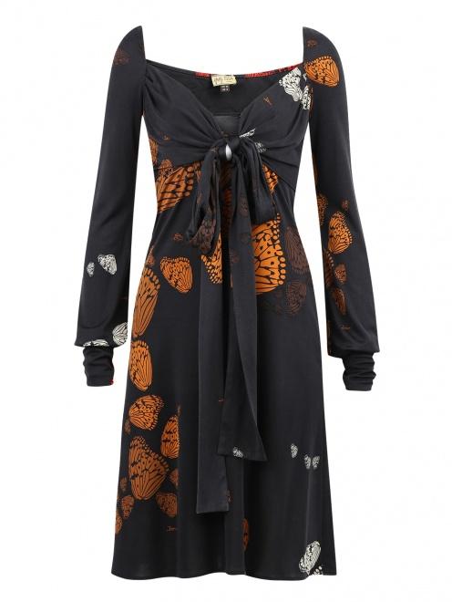 Платье-мини из шелка с узором и драпировкой  - Общий вид