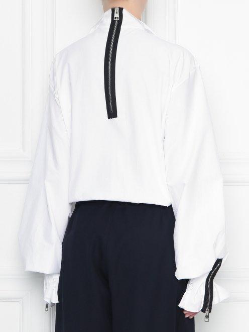 Блуза из хлопка с драпировкой - МодельВерхНиз1