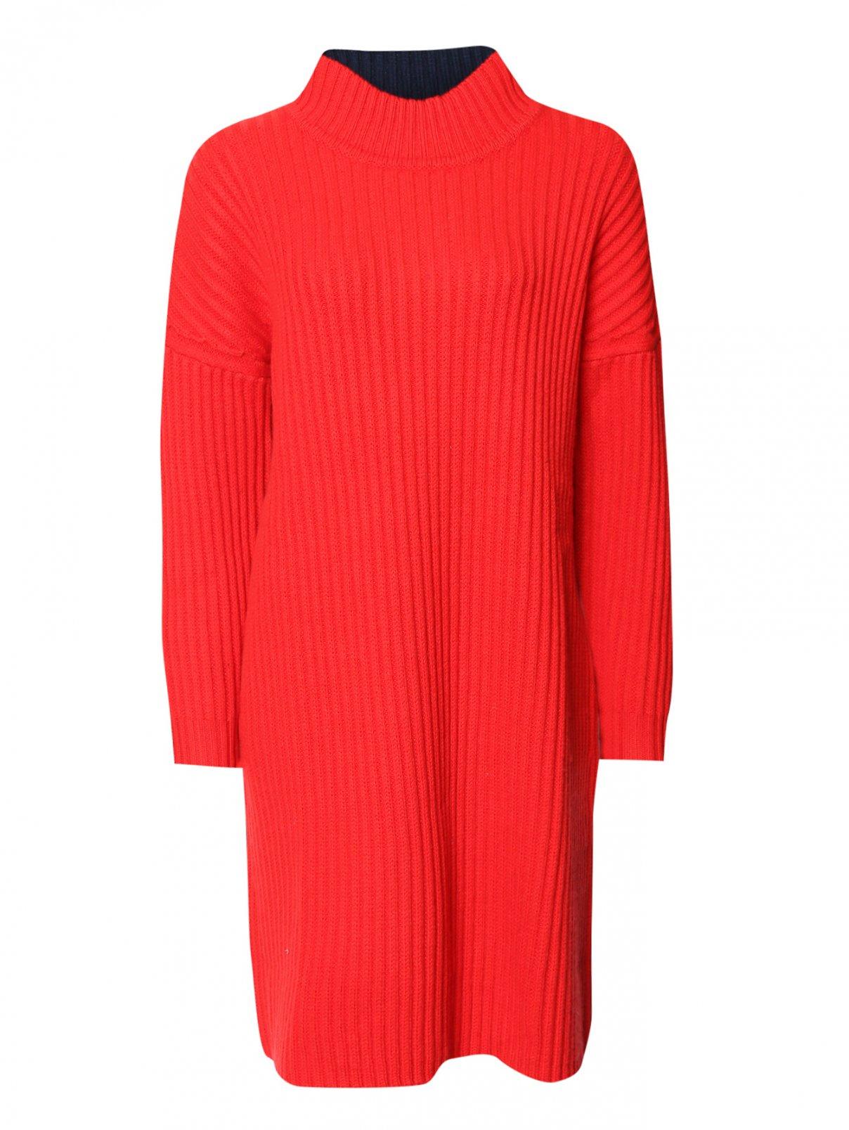 Платье двухцветное крупной вязки Jil Sander Navy  –  Общий вид