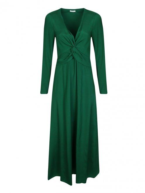 Платье шелковое с драпировкой на груди - Общий вид