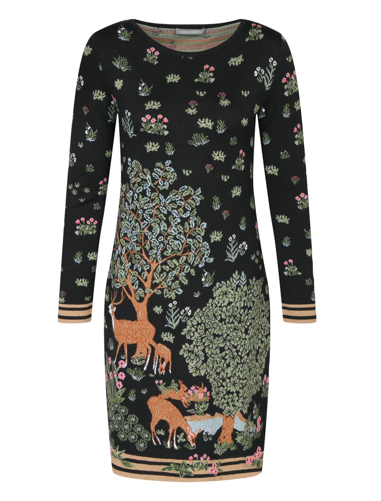 Трикотажное платье из шерсти с узором Alberta Ferretti  –  Общий вид