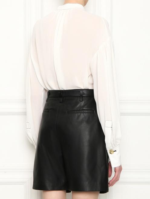Блуза из шелка с контрастной отстрочкой  - МодельВерхНиз1